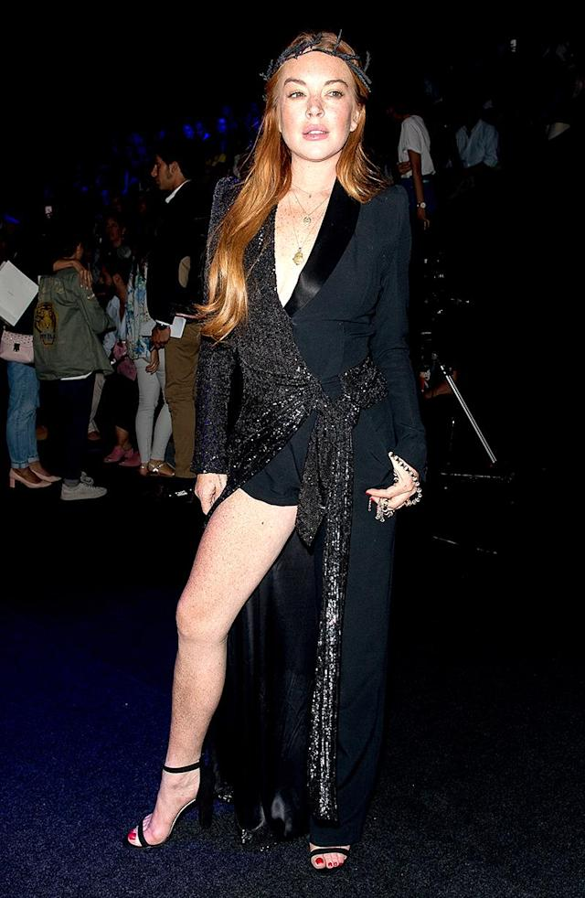 <p>Oh, hey, Lindsay! The actress put her best leg forward at a fashion show during Madrid Fashion Week.<br> (Photo: Eduardo Parra/Getty Images) </p>