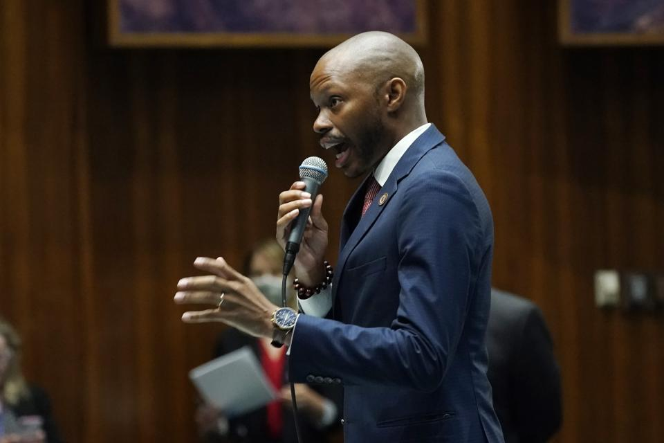 """House Minority Leader Reginald Bolding, D-Laveen, explains his """"no"""" vote during a vote on the Arizona budget at the Arizona Capitol Thursday, June 24, 2021, in Phoenix. (AP Photo/Ross D. Franklin)"""