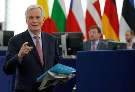 European Union's Chief Brexit negotiator Barnier arrives to attend a debate on the guidelines on the framework of future EU-UK relations at the European Parliament in Strasbourg