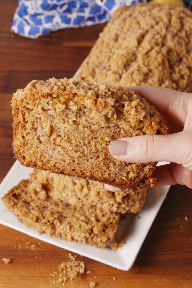 """<p>Enjoyed with a cup of coffee not optional.</p><p>Get the <a href=""""https://www.delish.com/uk/cooking/recipes/a28826381/banana-bread-coffee-cake-recipe/"""" rel=""""nofollow noopener"""" target=""""_blank"""" data-ylk=""""slk:Coffee Cake Banana Bread"""" class=""""link rapid-noclick-resp"""">Coffee Cake Banana Bread</a> recipe.</p>"""