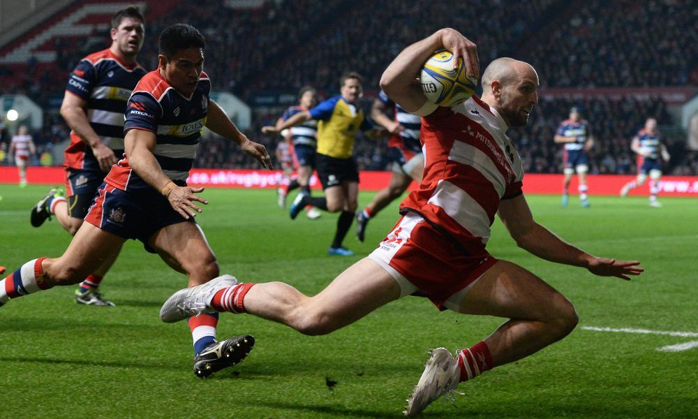 Gloucester's Charlie Sharples slips before getting up and going over for his side's first try against Bristol at Ashton Gate.