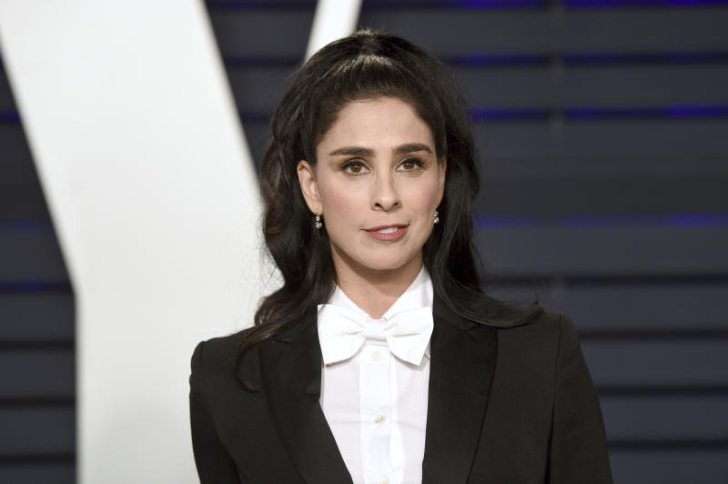 Sarah Silverman arrives at the Vanity Fair Oscar Party on Sunday, Feb. 24, 2019, in Beverly Hills, Calif. (Photo by Evan Agostini/Invision/AP)