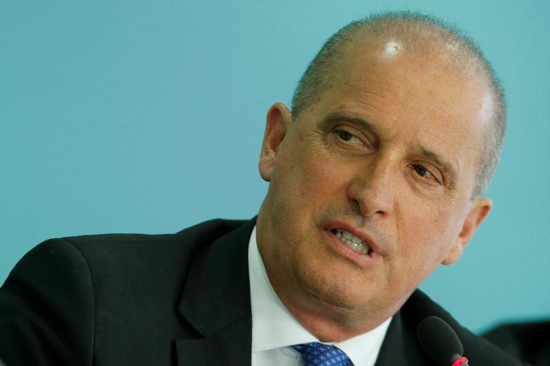 Brazil's Chief of Staff Minister Onyx Lorenzoni speaks during a news conference in Brasilia