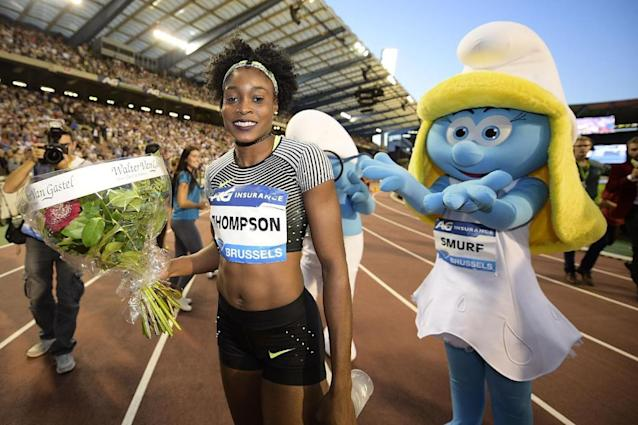 Jamaica's Elaine Thompson poses after winning the women's 100m race during the 2016 edition of the AG Insurance Memorial Van Damme IAAF Diamond League athletics meeting, on September 9, 2016 in Brussels. (AFP Photo/YORICK JANSENS)