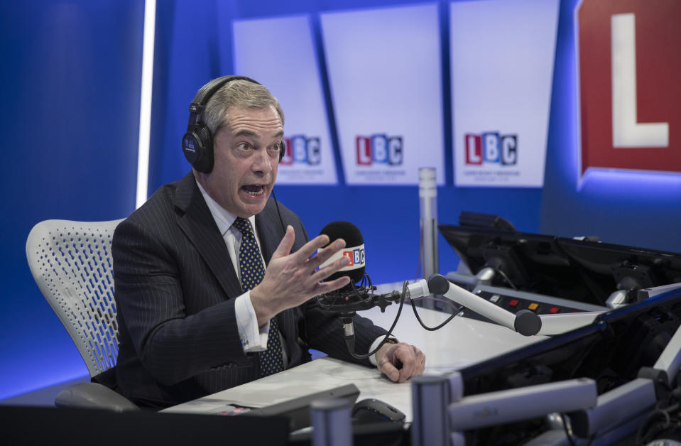LONDON, ENGLAND - JANUARY 05:  Nigel Farage joins LBC where he will present his own nightly show 'The Nigel Farage Show' which starts on January 9th 2017 at LBC Studio on January 5, 2017 in London, England.  (Photo by John Phillips/Getty Images)