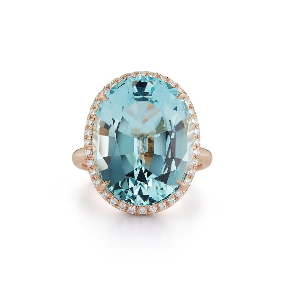 """<p>thevaultnantucket.com</p><p><strong>$18500.00</strong></p><p><a href=""""https://www.thevaultnantucket.com/products/oval-aquamarine-cocktail-ring?_pos=1&_sid=ff7640caa&_ss=r"""" rel=""""nofollow noopener"""" target=""""_blank"""" data-ylk=""""slk:Shop Now"""" class=""""link rapid-noclick-resp"""">Shop Now</a></p><p>Why stick to diamonds if your heart tells you to get a sky-blue aquamarine? There are no rules, so choose a stone that you love, and that might be a 16.86 aquamarine framed in a circle of diamonds. </p>"""