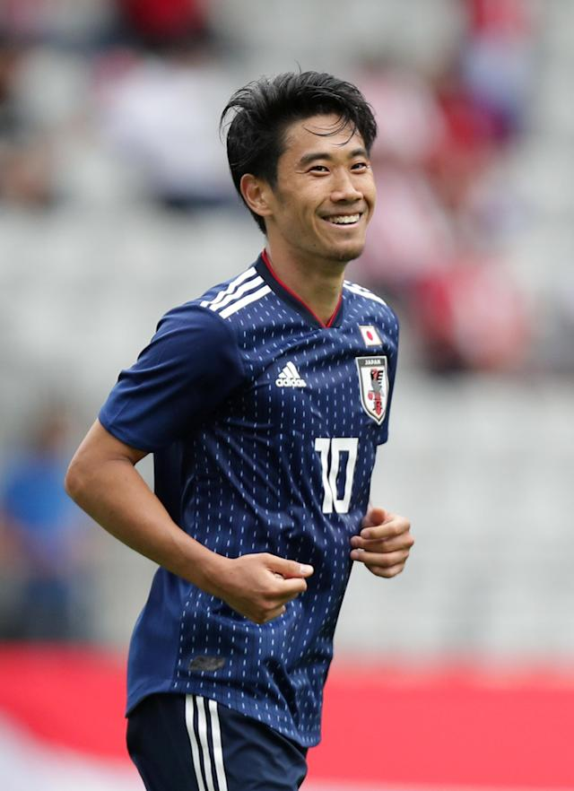 Soccer Football - International Friendly - Japan vs Paraguay - Tivoli-Neu, Innsbruck, Austria - June 12, 2018 Japan's Shinji Kagawa celebrates scoring their fourth goal REUTERS/Lisi Niesner