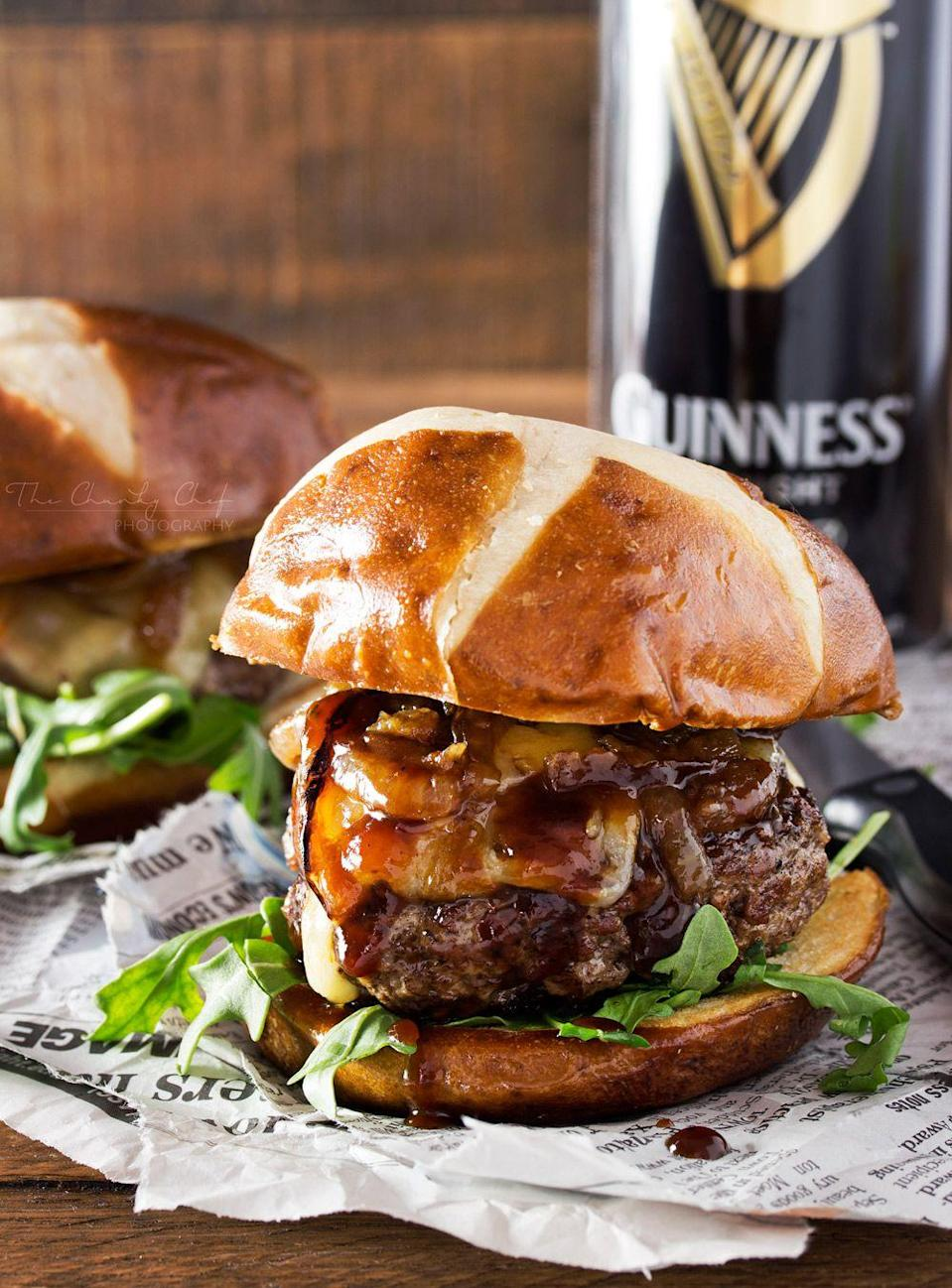 """<p>This mouthwatering, meaty main is topped with caramelized onions and lots of melted cheese. Yum!</p><p><strong>Get the recipe at <a href=""""http://www.thechunkychef.com/whiskey-glazed-blue-cheese-burgers/"""" rel=""""nofollow noopener"""" target=""""_blank"""" data-ylk=""""slk:The Chunky Chef"""" class=""""link rapid-noclick-resp"""">The Chunky Chef</a>.</strong> </p>"""