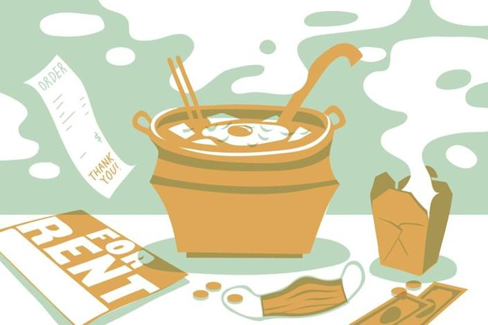 """An illustration of Monica Lee's soondubu at Beverly Soon Tofu. <span class=""""copyright"""">(Pearl Shen / For The Times )</span>"""