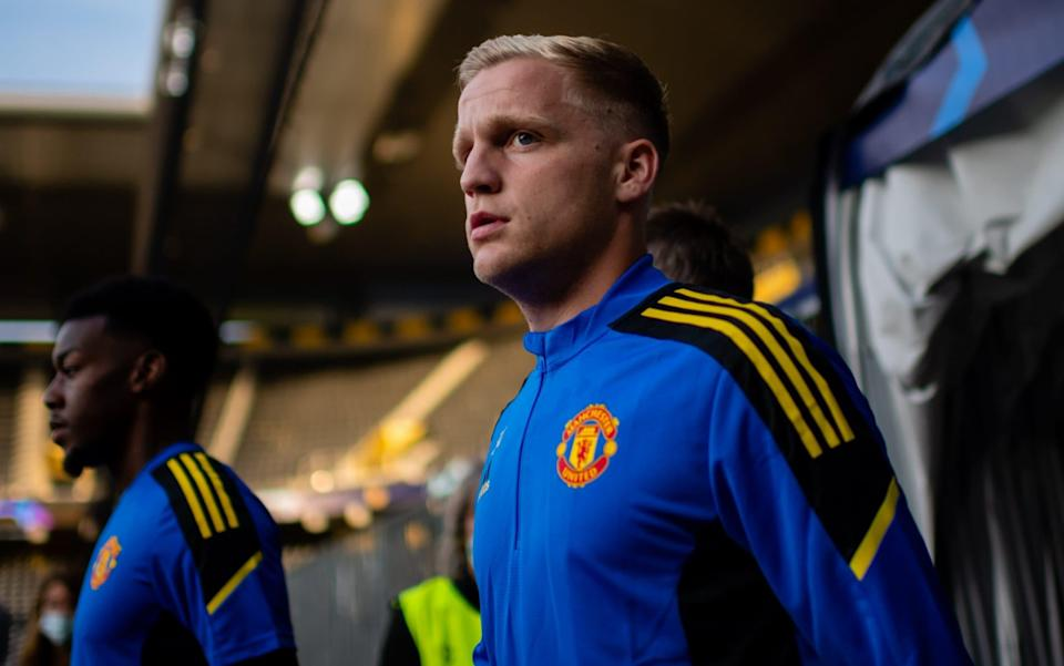 Donny van de Beek of Manchester United arrives ahead of a first team training session at Stadion Wankdorf on September 13, 2021 in Bern, Switzerland. - GETTY IMAGES