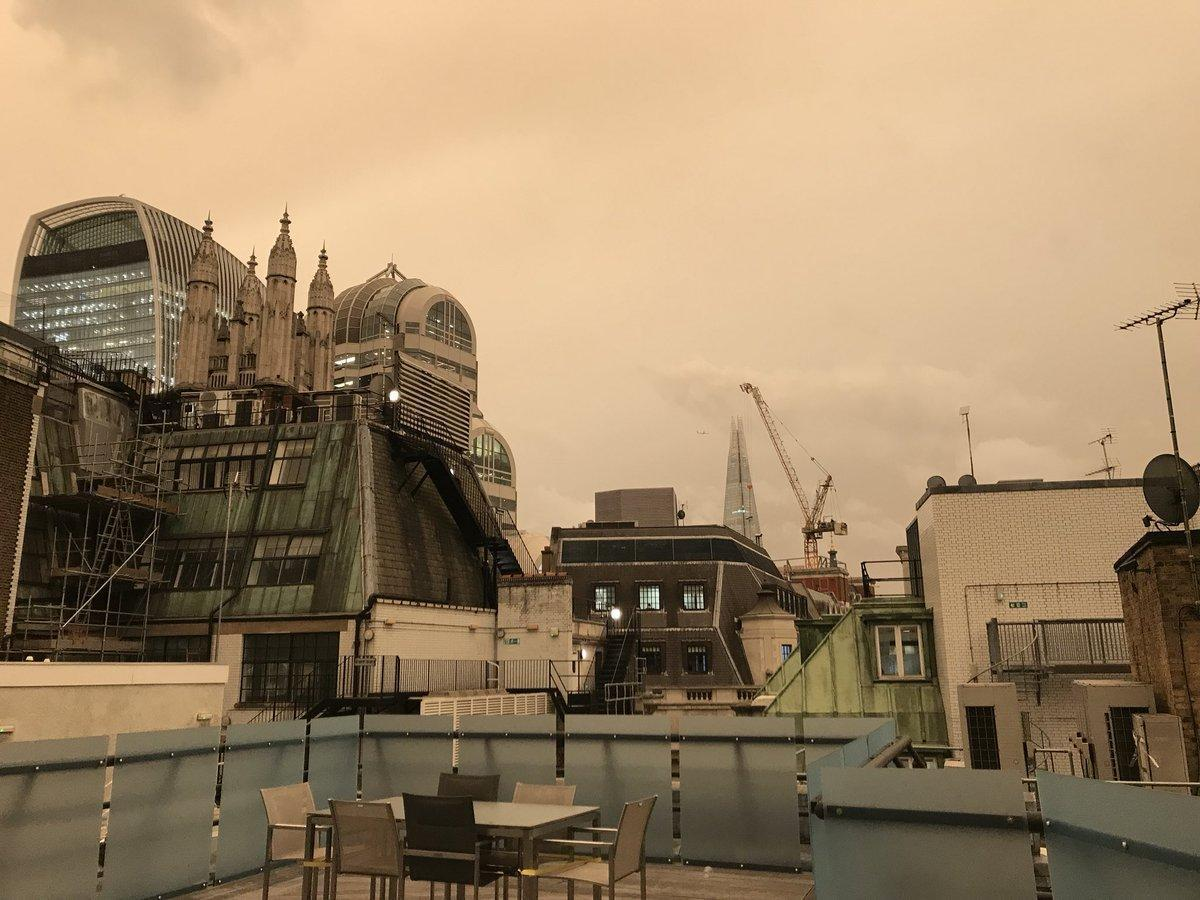 London sky cloaked in strange orange glow as Storm Ophelia causes dust phenomenon
