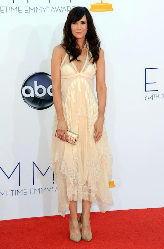 Kristin Wiig arrives at the 64th Primetime Emmy Awards at the Nokia Theatre in Los Angeles on September 23, 2012.