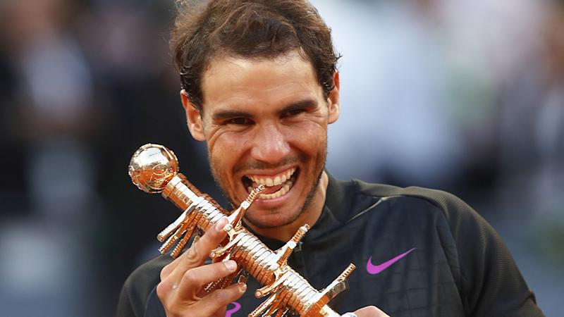 Seen here, Rafael Nadal celebrates a title win at the Madrid Open.