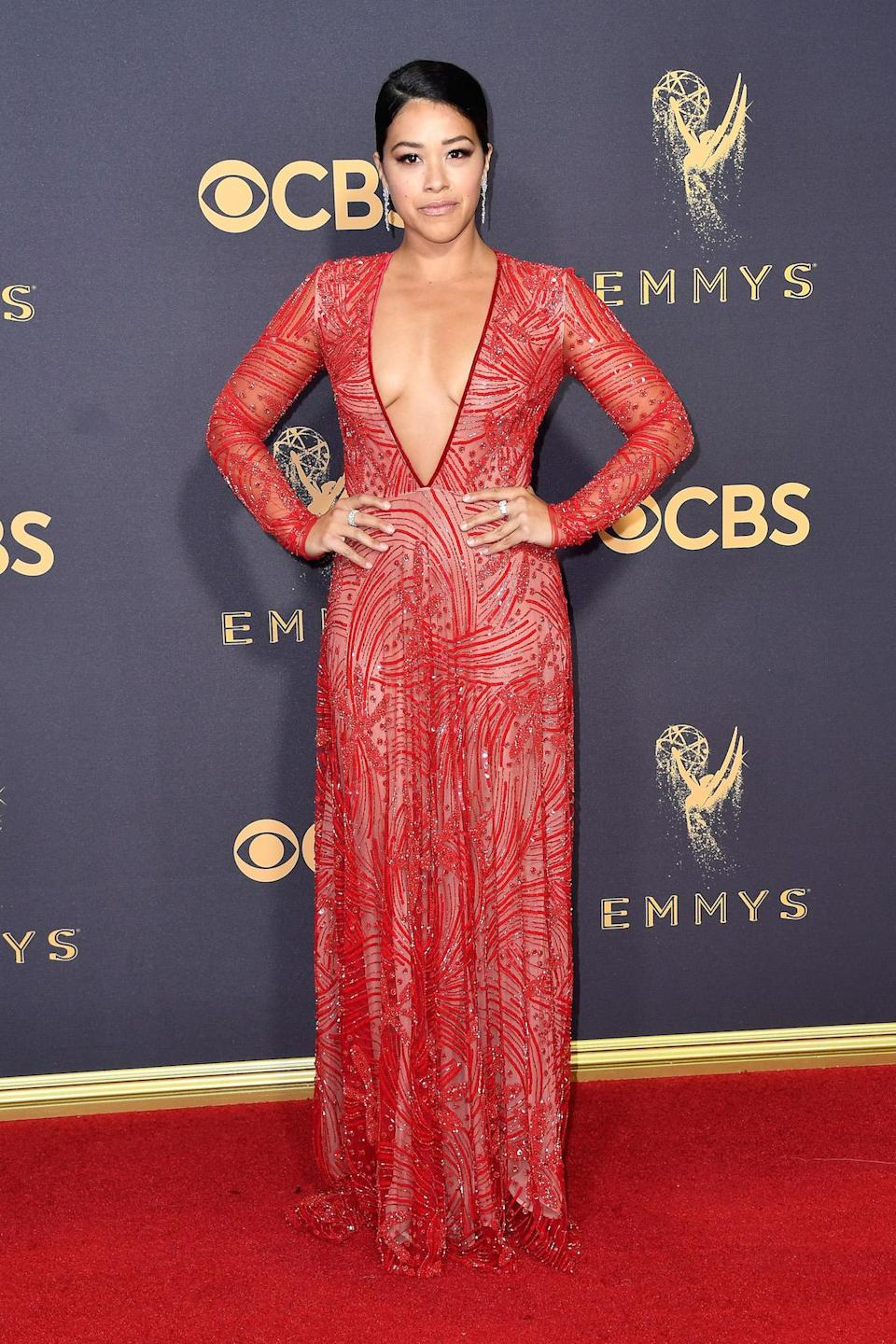 <p>Gina Rodriguez attends the 69th Primetime Emmy Awards on Sept. 17, 2017.<br> (Photo: Getty Images) </p>