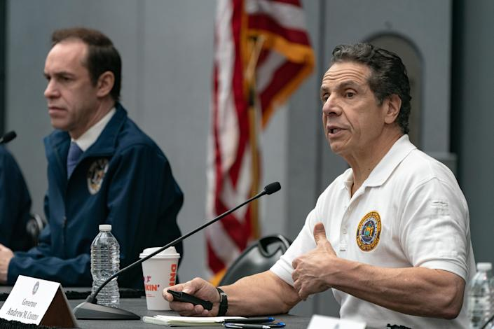 Gov. Andrew Cuomo at a recent news conference at the Javits Center in New York City. (Jeenah Moon/Reuters)