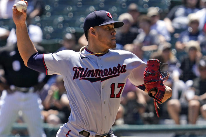 Minnesota Twins starting pitcher Jose Berrios throws against the Chicago White Sox during the first inning of a baseball game in Chicago, Thursday, July 1, 2021. (AP Photo/Nam Y. Huh)