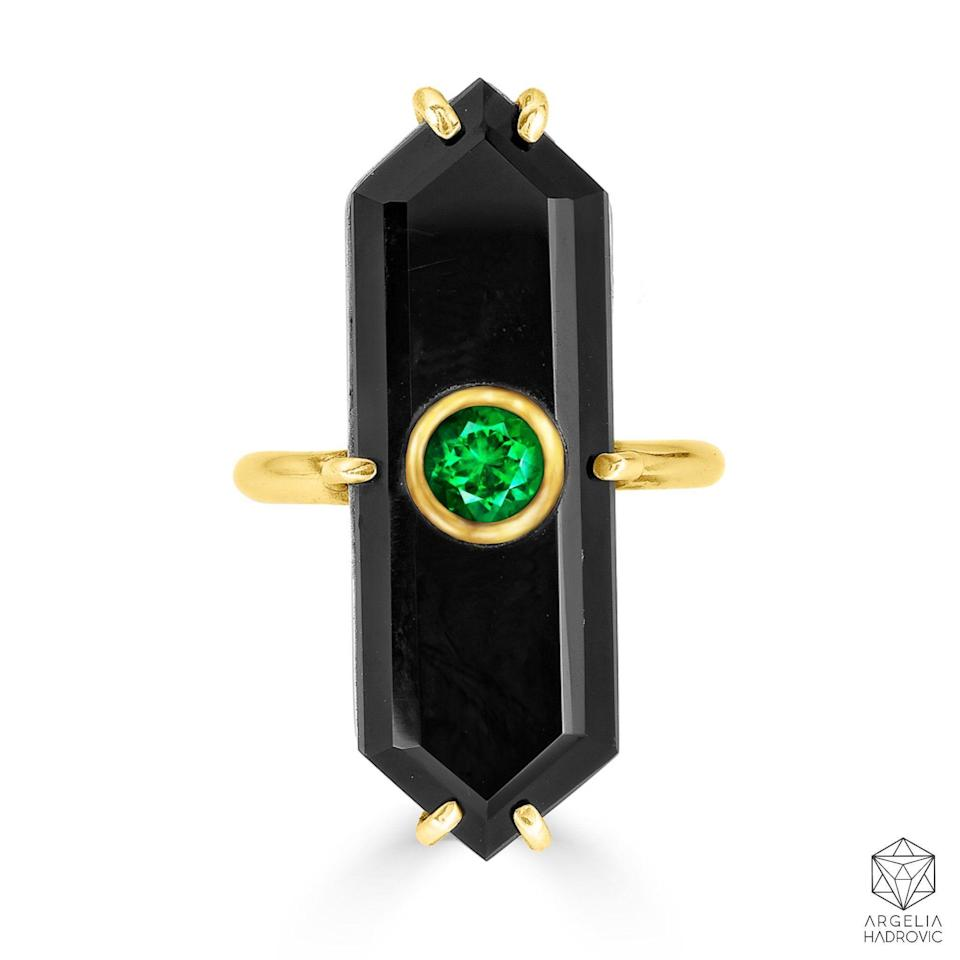 """<p><strong>argelia hadrovic</strong></p><p>argeliahadrovic.com</p><p><strong>$1950.00</strong></p><p><a href=""""https://argeliahadrovic.com/collections/rings/products/deco-onyx-ring-emerald"""" rel=""""nofollow noopener"""" target=""""_blank"""" data-ylk=""""slk:Shop Now"""" class=""""link rapid-noclick-resp"""">Shop Now</a></p><p>A piece that feels as special as she is.</p>"""