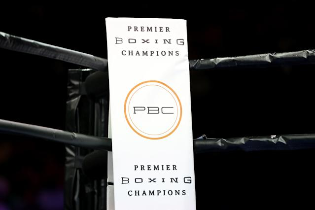 The Premier Boxing Champions logo in the ring at the Barclays Center in Brooklyn in August 2015. (AP Photo/Gregory Payan)