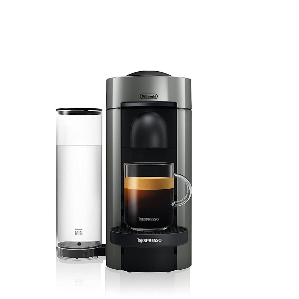 """<p>This Nespresso model can make espresso and regular coffee, so you don't have to junk up your valuable counter space with two machines.</p><p><strong><em>BUY IT NOW: Nespresso VertuoPlus Coffee and Espresso Maker by De'Longhi, $150; <a href=""""https://www.amazon.com/Nespresso-VertuoPlus-Coffee-Espresso-DeLonghi/dp/B01N7GO468/ref=sr_1_1_sspa?s=home-garden&ie=UTF8&qid=1506955793&sr=1-1-spons&keywords=nespresso&psc=1&tag=syn-yahoo-20&ascsubtag=%5Bartid%7C10063.g.35536497%5Bsrc%7Cyahoo-us"""" rel=""""nofollow noopener"""" target=""""_blank"""" data-ylk=""""slk:Amazon.com"""" class=""""link rapid-noclick-resp"""">Amazon.com</a></em></strong></p>"""