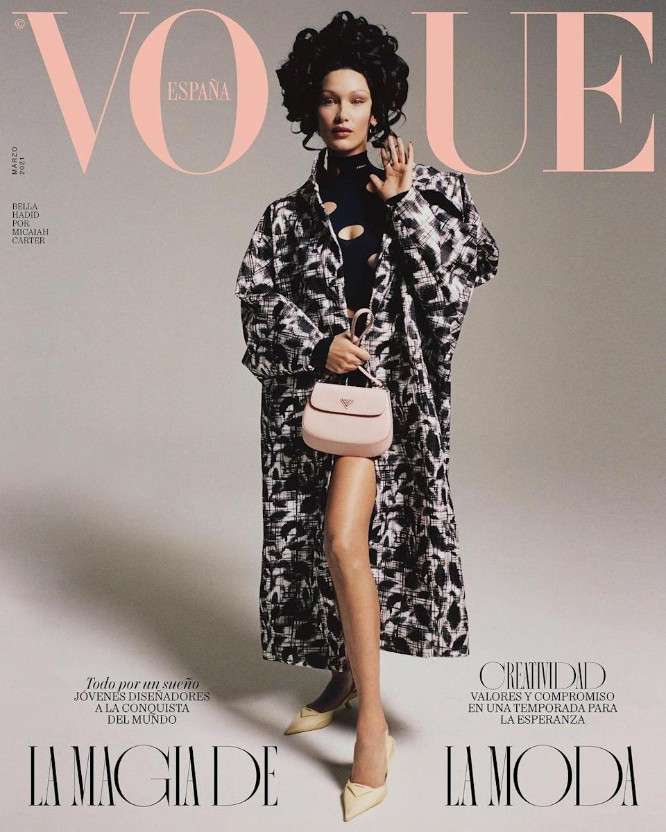 Vogue Spain, March 2020. Bella Hadid photographed by Micaiah Carter. Hair by Evanie Frausto