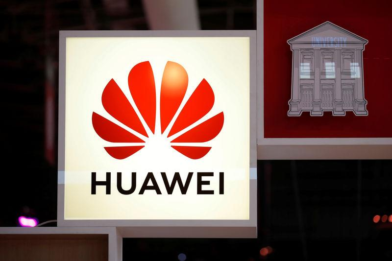 Logo of Huawei is seen at VivaTech fair in Paris