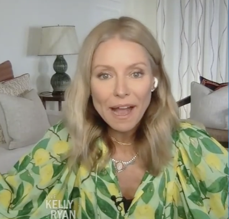 "Kelly Ripa reveals she's been ""stuck"" in the Caribbean during quarantine. (Screenshot: Live With Kelly and Ryan)"