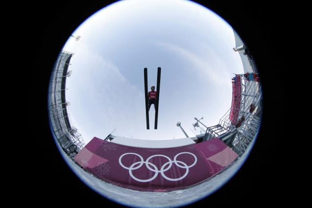 Nordic Combined Events - Pyeongchang 2018 Winter Olympics - Team LH Training - Alpensia Ski Jumping Centre - Pyeongchang, South Korea - February 21, 2018 - Antoine Gerard of France trains. Picture taken with a fisheye lens. REUTERS/Jorge Silva