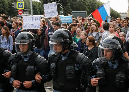 Rights Group Says More Than 1,000 People Were Detained in Russia Protests