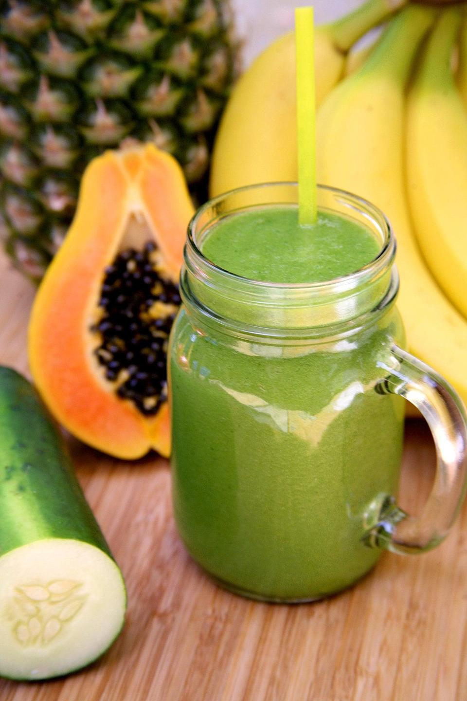 """<p>If you've had a big night out or are just feeling a little overstuffed, wake up with this <a href=""""https://www.popsugar.com/fitness/Debloating-Smoothie-34945818"""" class=""""link rapid-noclick-resp"""" rel=""""nofollow noopener"""" target=""""_blank"""" data-ylk=""""slk:debloating papaya smoothie"""">debloating papaya smoothie</a>. Filled with enzymes to aid in digestion as well as potassium to help <a href=""""https://www.health.harvard.edu/staying-healthy/potassium_and_sodium_out_of_balance"""" class=""""link rapid-noclick-resp"""" rel=""""nofollow noopener"""" target=""""_blank"""" data-ylk=""""slk:flush out excess sodium"""">flush out excess sodium</a>, this smoothie will help you start your day right and feel a little lighter as well. </p>"""