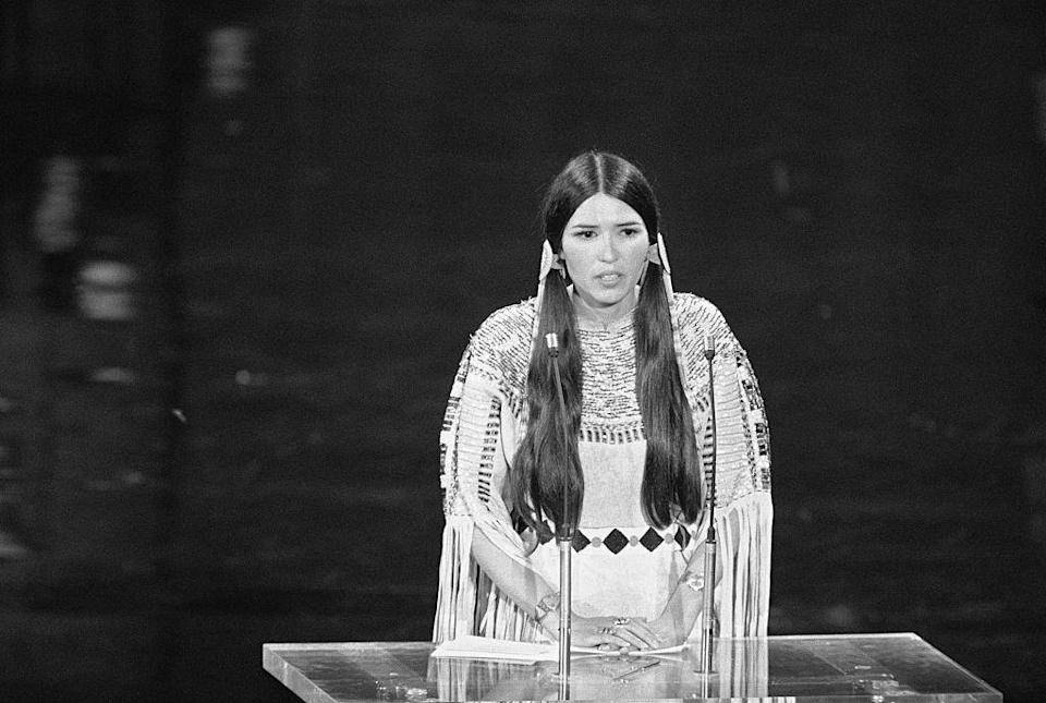 "<p><strong>Apache, Yaqui</strong></p><p>Actress Sacheen Littlefeather is best known for appearing at the 1973 Academy Awards after Marlon Brando turned down his Best Actor trophy. Littlefeather delivered a poignant, urgent speech about the portrayal of Native Americans in cinema, <a href=""https://www.youtube.com/watch?v=Zi_N1NDmSM8"" rel=""nofollow noopener"" target=""_blank"" data-ylk=""slk:one that has endured for decades"" class=""link rapid-noclick-resp"">one that has endured for decades</a>.</p><p>Beyond that moment, she had a film career of her own, and helped create the National American Indian Performing Arts Registry, helping fellow Indigenous performers get roles, and even <a href=""https://www.commonwealthclub.org/events/2019-09-20/sacheen-littlefeather-and-sivan-alyra-rose-native-americans-film-and-media"" rel=""nofollow noopener"" target=""_blank"" data-ylk=""slk:won an Emmy"" class=""link rapid-noclick-resp"">won an Emmy</a> for her involvement with <em>Dancing in America: Song for Dead Warriors.</em></p><p>Littlefeather is <a href=""http://www.sacheenlittlefeather.net/pages/1/index.htm"" rel=""nofollow noopener"" target=""_blank"" data-ylk=""slk:Native on her father's side"" class=""link rapid-noclick-resp"">Native on her father's side</a>, hailing from the White Mountain Apache tribe and the Yaqui tribe of Arizona.</p>"