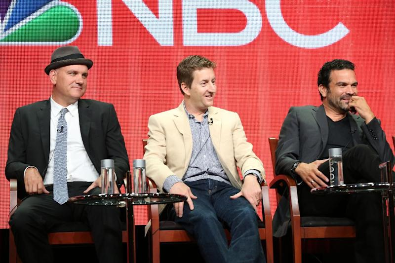 "This publicity image released by NBC shows actor Mike O'Malley, from left, Executive Producer Mike Sikowitz, and actor Ricardo A. Chavira from the ""Welcome to the Family"" panel during the NBCUniversal Press Tour in Beverly Hills, Calif., on Saturday, July 27, 2013. (AP Photo/NBC, Chris Haston)"