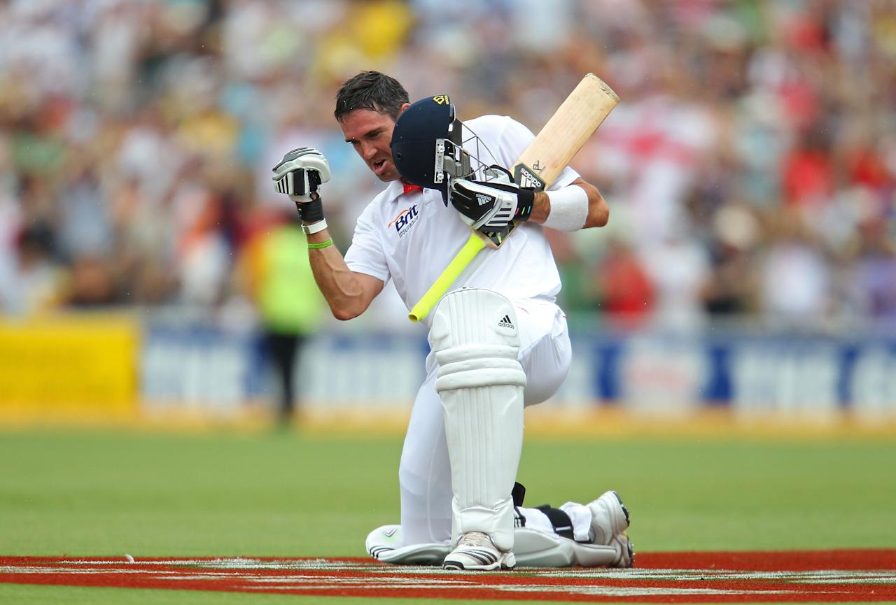 ADELAIDE, AUSTRALIA - DECEMBER 05:  Kevin Pietersen of England celebrates after reaching his double century during day three of the Second Ashes Test match between Australia and England at Adelaide Oval on December 5, 2010 in Adelaide, Australia.  (Photo by Scott Barbour/Getty Images)