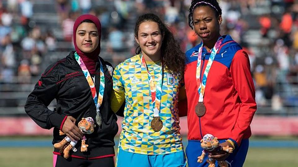Alegna Osorio, pictured here after winning bronze at the Pan-American under-20 championships in 2019.