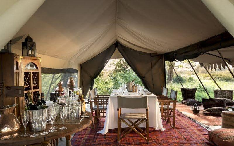 The dining room at Selinda Explorer's Camp in Botswana
