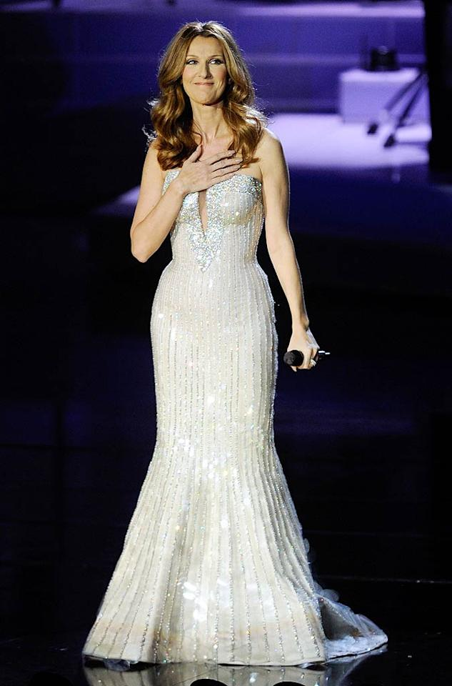 """Celine sparkled once again when she changed into this custom-made Armani Prive gown halfway through the sold-out spectacular. Ethan Miller/<a href=""""http://www.gettyimages.com/"""" target=""""new"""">GettyImages.com</a> - March 15, 2011"""