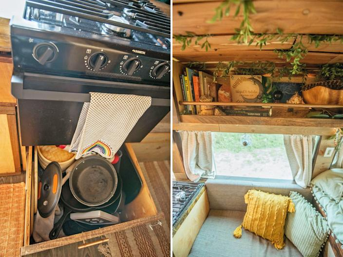 Left: Open hidden drawer under the oven Right: storage shelving above the couch