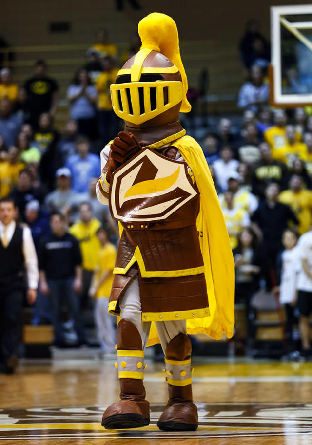 Valparaiso Crusaders mascot seen on the court during the game against the Eastern Kentucky Colonels at Athletics-Recreation Center on February 23, 2013 in Valparaiso, Indiana. Valparaiso defeated Eastern Kentucky 82-60. (Photo by Michael Hickey/Getty Images)