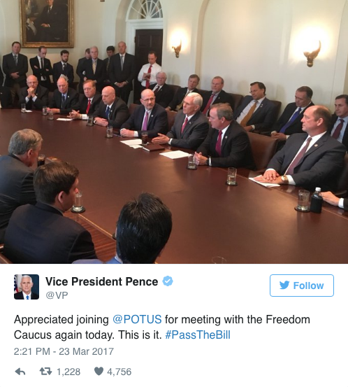Donald Trump and VP Mike Pence met with a group of ultra-conservative congressmen, collectively known as the Freedom Caucus, to discuss the House GOP's health care bill and its maternity care policy.