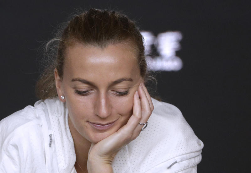 Petra Kvitova of the Czech Republic speaks at a press conference following her loss to Japan's Naomi Osaka in the women's singles final at the Australian Open tennis championships in Melbourne, Australia, Saturday, Jan. 26, 2019. (AP Photo/Mark Schiefelbein)