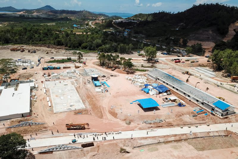 An aerial view of the works in progress of an emergency hospital at a Galang Island to prevent the spread of coronavirus disease (COVID-19) in Batam