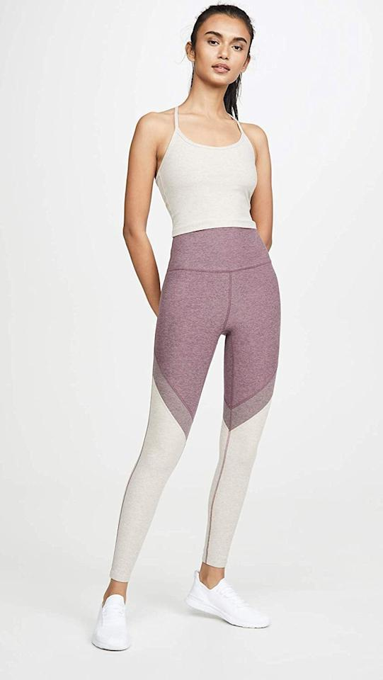 "<p>These adorable <a href=""https://www.popsugar.com/buy/Beyond-Yoga-Spacedye-Day-One-High-Waisted-Long-Leggings-508375?p_name=Beyond%20Yoga%20Spacedye%20Day%20One%20High%20Waisted%20Long%20Leggings&retailer=amazon.com&pid=508375&price=99&evar1=fit%3Auk&evar9=46823514&evar98=https%3A%2F%2Fwww.popsugar.com%2Ffitness%2Fphoto-gallery%2F46823514%2Fimage%2F46823784%2FBeyond-Yoga-Spacedye-Day-One-High-Waisted-Long-Leggings&list1=shopping%2Camazon%2Cworkout%20clothes%2Cyoga%2Cleggings&prop13=api&pdata=1"" rel=""nofollow"" data-shoppable-link=""1"" target=""_blank"" class=""ga-track"" data-ga-category=""Related"" data-ga-label=""https://www.amazon.com/Beyond-Yoga-Spacedye-Waisted-Leggings/dp/B07YYL71TY?s=shopbop&amp;ref_=sb_ts"" data-ga-action=""In-Line Links"">Beyond Yoga Spacedye Day One High Waisted Long Leggings</a> ($99) come in the cutest colorway. We like them with a white or black tank.</p>"
