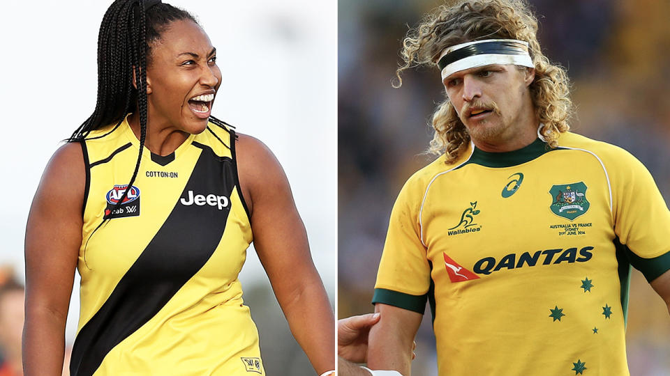 Sabrina Frederick and Nick Cummins, pictured here in the AFLW and rugby.