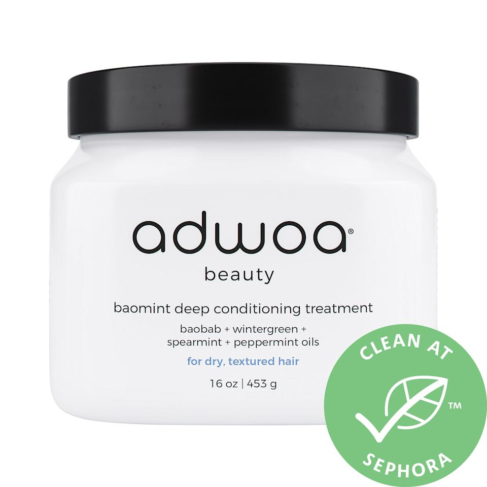 """<p>If you're looking to replicate a salon-quality, deep-conditioning treatment at home, this <product href=""""https://www.sephora.com/product/adwoa-beauty-baomint-deep-conditioning-treatment-P457232?icid2=products%20grid:p457232"""" target=""""_blank"""" class=""""ga-track"""" data-ga-category=""""internal click"""" data-ga-label=""""https://www.sephora.com/product/adwoa-beauty-baomint-deep-conditioning-treatment-P457232?icid2=products%20grid:p457232"""" data-ga-action=""""body text link"""">Adwoa Beauty Baomint Deep Conditioning Treatment</product> ($36) can work on fine and medium hair textures but really shines on thicker hair like mine. Yes, it still has mint oils inside, but it's also packed with nutrient-rich prickly pear and pumpkin seed oils to nourish and <a href=""""https://www.popsugar.com/beauty/best-scalp-treatments-at-sephora-47372112"""" class=""""ga-track"""" data-ga-category=""""internal click"""" data-ga-label=""""https://www.popsugar.com/beauty/best-scalp-treatments-at-sephora-47372112"""" data-ga-action=""""body text link"""">protect your scalp</a>, cuticles, and hair, too.</p> <p>Even though it's recommended you put a hot towel over a shower cap or use a hooded dryer to help this unclog pores and loosen dead skin, I've gotten great soft, detangled results from simply applying this cream, sectioning my hair, and waiting 15 minutes without doing anything else.</p>"""