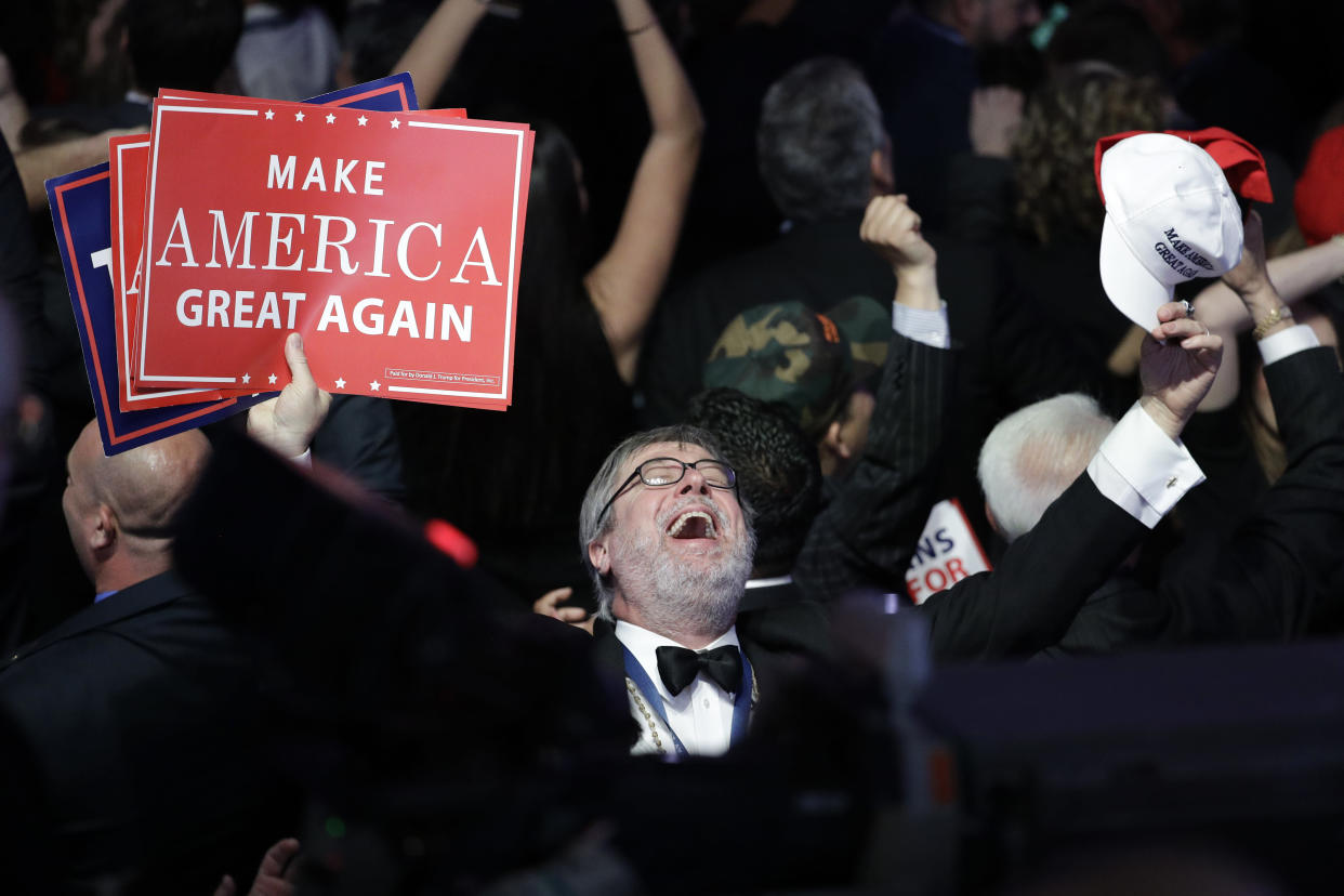 Supporters of Republican presidential candidate Donald Trump react as they watch the election results during Trump's election night rally on Nov. 8, 2016, in New York. (Photo: John Locher/AP)
