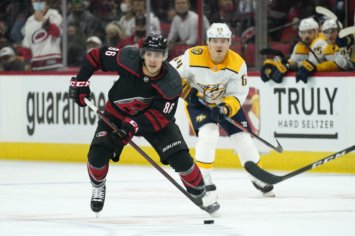 Carolina Hurricanes left wing Teuvo Teravainen (86) skates against the Nashville Predators during the second period in Game 2 of an NHL hockey Stanley Cup first-round playoff series in Raleigh, N.C., Wednesday, May 19, 2021. (AP Photo/Gerry Broome)