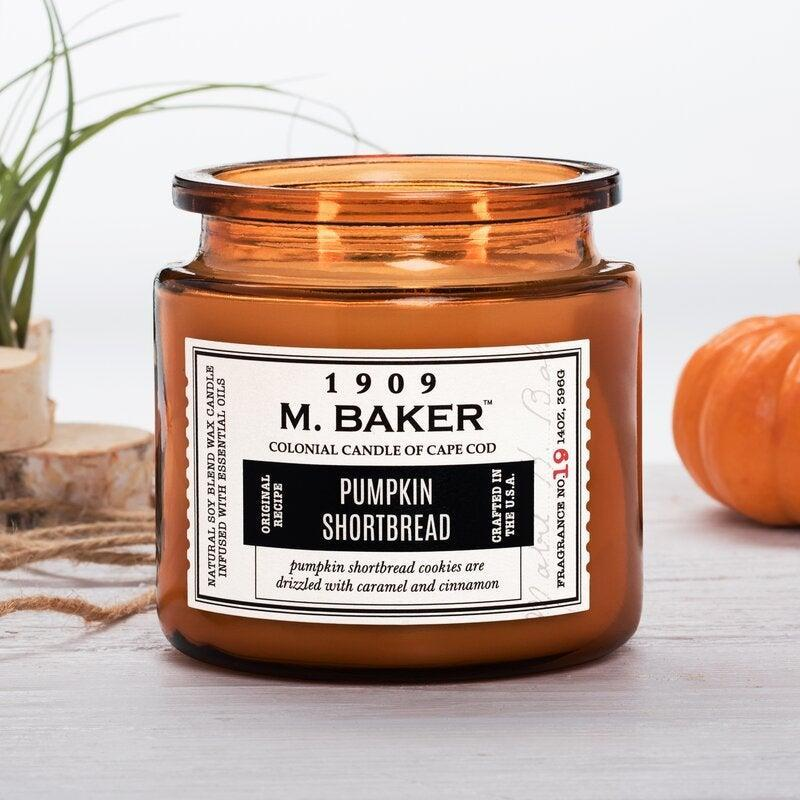 """<br><br><strong>Colonial Candle</strong> M. Baker Scented Jar Candle, $, available at <a href=""""https://go.skimresources.com/?id=30283X879131&url=https%3A%2F%2Fwww.wayfair.com%2Fdecor-pillows%2Fpdp%2Fcolonial-candle-m-baker-scented-jar-candle-dvlt1123.html"""" rel=""""nofollow noopener"""" target=""""_blank"""" data-ylk=""""slk:Wayfair"""" class=""""link rapid-noclick-resp"""">Wayfair</a>"""
