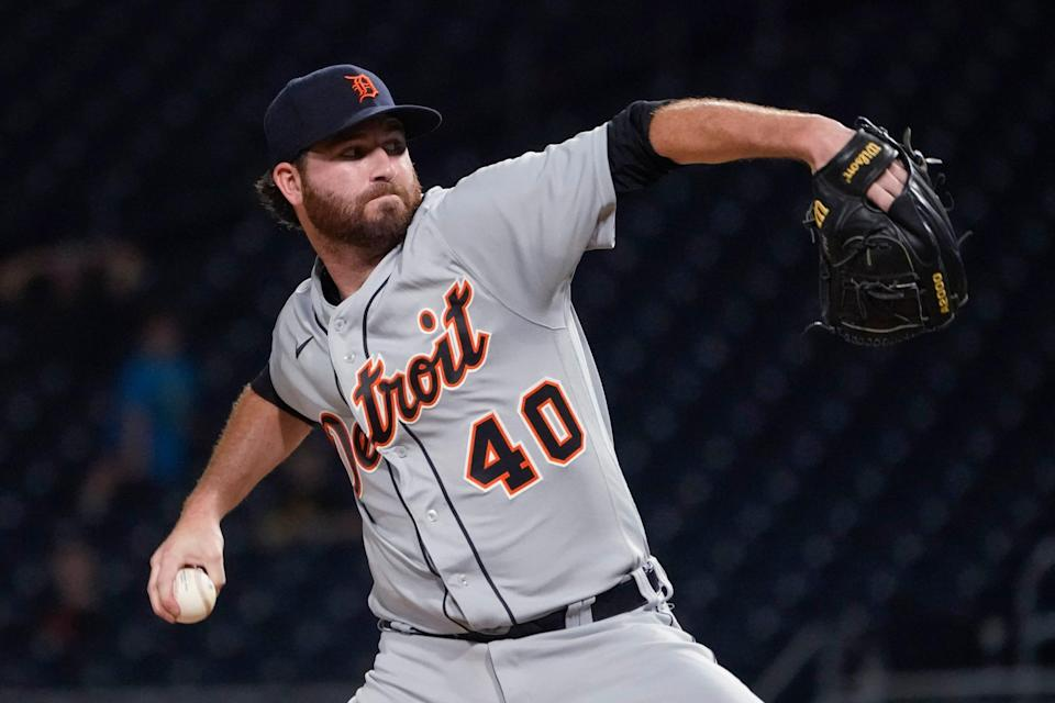 Detroit Tigers relief pitcher Drew Hutchison throws to a Pittsburgh Pirates batter during the fifth inning of a baseball game Wednesday, Sept. 8, 2021, in Pittsburgh.