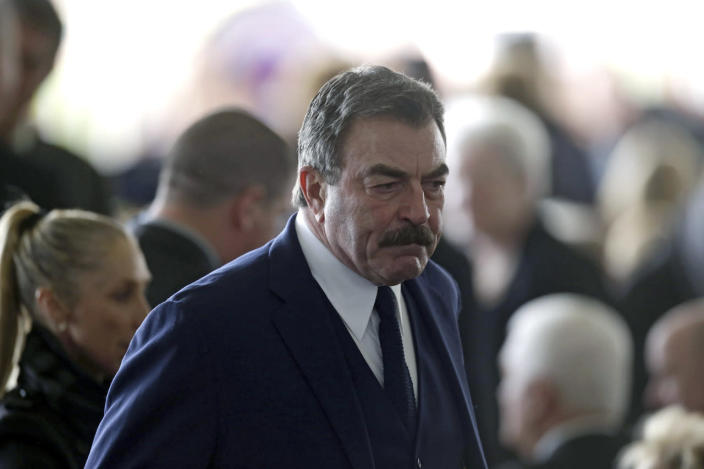 <p>Actor Tom Selleck arrives for funeral services being held for former first lady Nancy Reagan. <i>(Photo: Irfan Khan-Pool/Getty Images)</i></p>