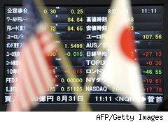 Japanese stock market with American and Japanese flags