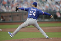 Texas Rangers pitcher Jordan Lyles works against the San Francisco Giants during the first inning of a baseball game Saturday, Aug. 1, 2020, in San Francisco. (AP Photo/Ben Margot)